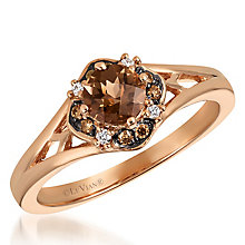 14ct Rose Gold Diamond & Smokey Quartz Ring - Product number 6236073
