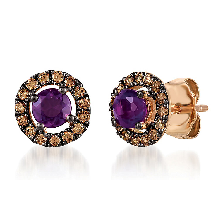 14ct Strawberry Gold Diamond & Grape Amethyst Earrings - Product number 6236472