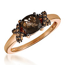 14ct Strawberry Gold Diamond & Smokey Quartz Ring - Product number 6236626