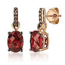 14ct Strawberry Gold Garnet & Chocolate Diamond Earrings - Product number 6236758