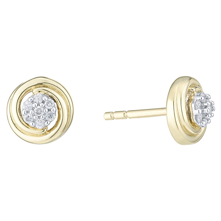 9ct Yellow Gold  & Diamond Stud Earrings - Product number 6237045