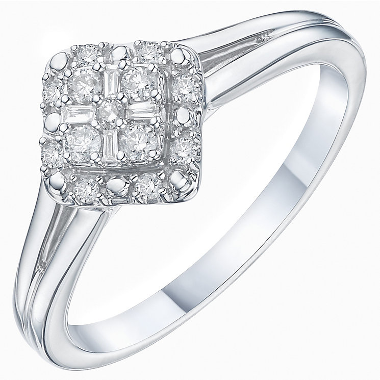 9ct White Gold 0.15ct Diamond Cluster Ring - Product number 6239226