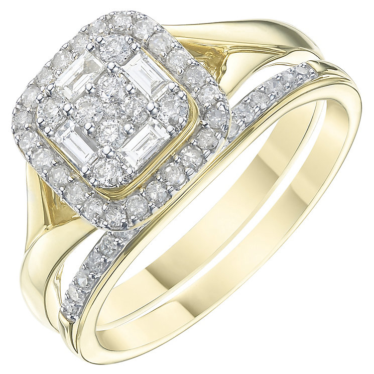 Perfect Fit 9ct Yellow Gold 2/5ct Diamond Cluster Bridal Set - Product number 6240852