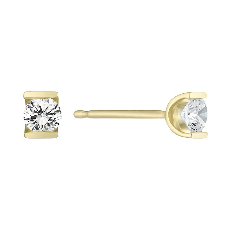 9ct Gold 1/5 Carat Diamond Bar Set Stud Earrings - Product number 6241646