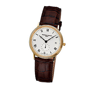 Frederique Constant men's brown leather strap watch - Product number 6241891