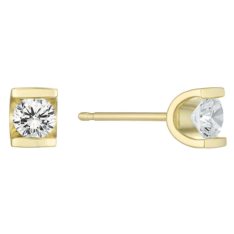 9ct Gold 0.30 Carat Diamond Bar Set Stud Earrings - Product number 6241948