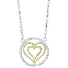 Sterling Silver & 9ct Yellow Gold Diamond Heart Pendant - Product number 6242006