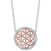 Sterling Silver & 9ct Rose Gold Diamond Pendant - Product number 6242014