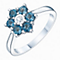 Sterling Silver Blue Topaz & Diamond Cluster Ring - Product number 6242243