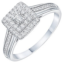 9ct White Gold 1/4 Carat Diamond Cluster Ring - Product number 6243118