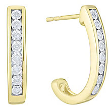 9ct Yellow Gold Diamond Hoop Earrings - Product number 6245625