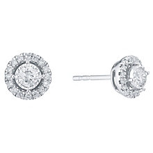 9ct White Gold 1/3 Carat Diamond Halo Stud Earrings - Product number 6245668