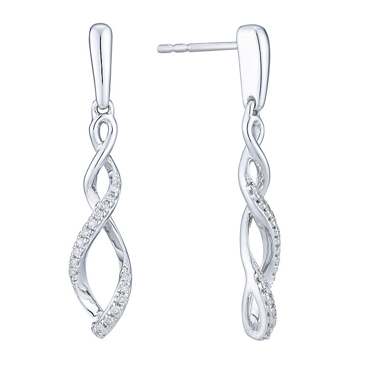 9ct White Gold 1/10 Carat Diamond Drop Earrings - Product number 6245684