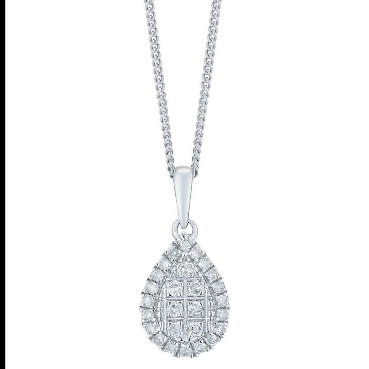 9ct White Gold 1/10 Carat Diamond Cluster Pendant - Product number 6245714