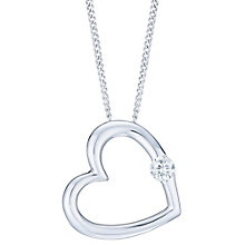 9ct White Gold & Diamond Heart Pendant - Product number 6245757
