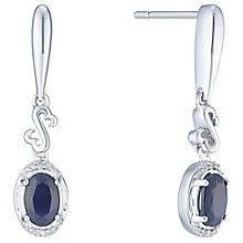 Open Hearts Silver & Sapphire Diamond Drop Earrings - Product number 6245811