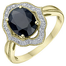 9ct Yellow Gold Sapphire & Diamond Halo Ring - Product number 6245889