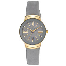 Anne Klein Ladies' Gold-Plated Grey Suede Strap Watch - Product number 6246079
