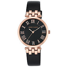 Anne Klein Ladies' Rose Gold Tone Black Leather Strap Watch - Product number 6246087