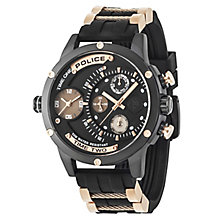 Police Men's Dual Time Dial Black Rubber Strap Watch - Product number 6251668