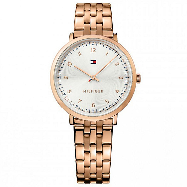 tommy hilfiger silver dial rose gold plated bracelet watch. Black Bedroom Furniture Sets. Home Design Ideas