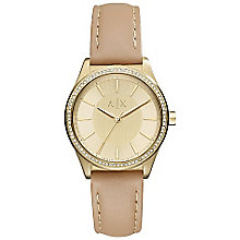 Armani Exchange Gold Tone Dial Nude Leather Strap Watch - Product number 6253814