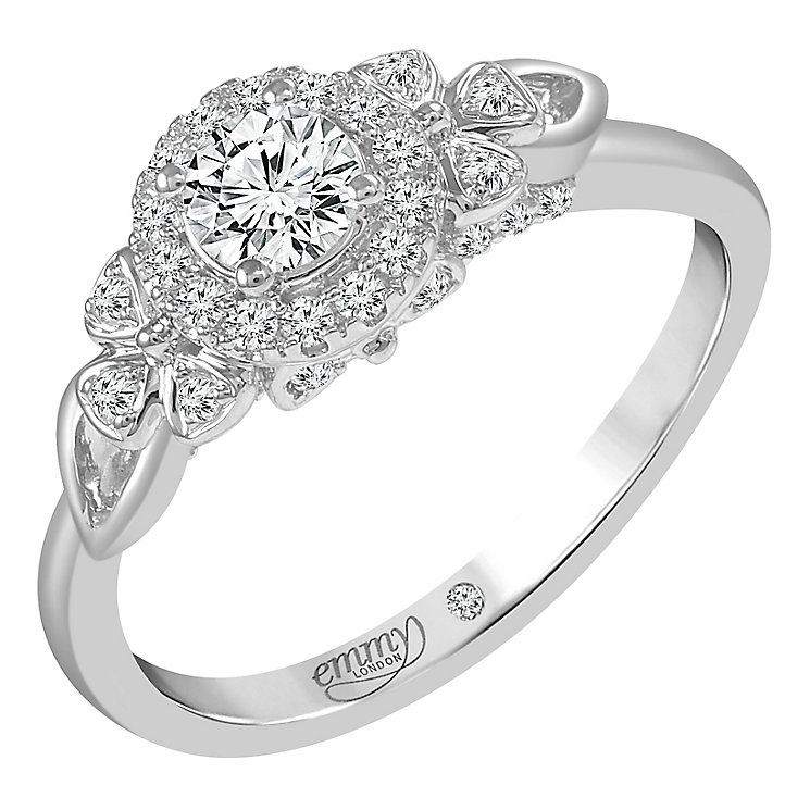 Emmy London Palladium 1/2 Carat Round Cut Diamond Set Ring - Product number 6259480