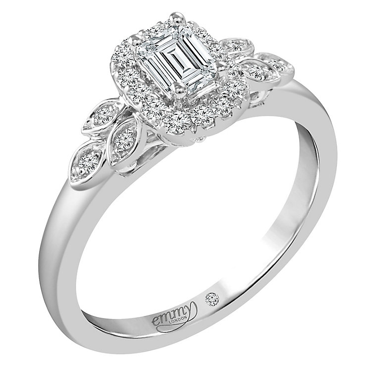 Emmy London Platinum 1/2 Ct Emerald Cut Centre Diamond Ring - Product number 6261647