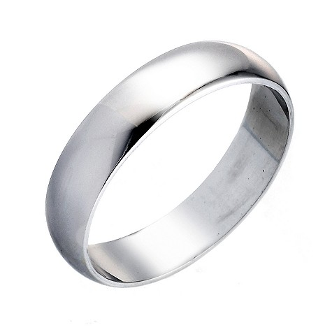 Platinum D shape extra heavy weight 5mm ring