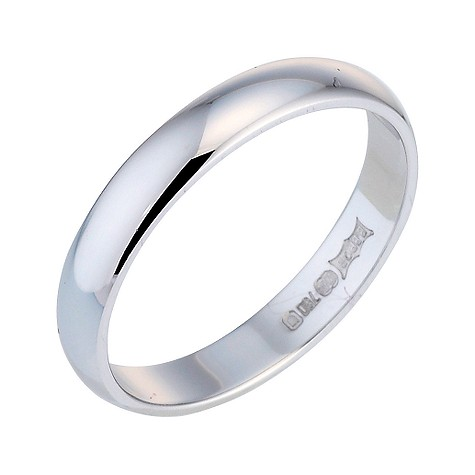 18ct white gold D shape extra heavy weight 3mm ring