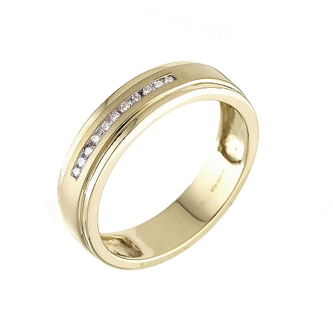 18ct yellow gold channel set diamond men