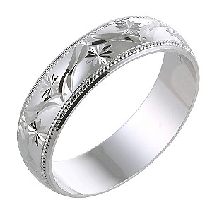 Men's 9ct White Gold 6mm Patterned Ring