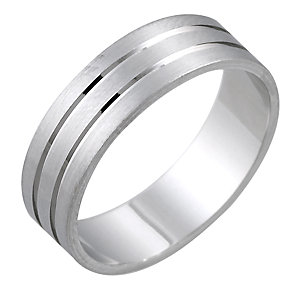Men's 9ct White Gold 6mm Matt and Polished Ring - Product number 6281664
