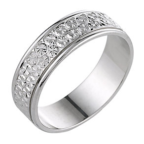 Men's 9ct White Gold Diamond Cut 6mm Ring - Product number 6281877