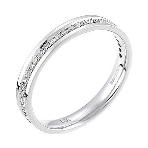 9ct white gold 15 point diamond wedding ring hsamuel - White Gold Wedding Rings