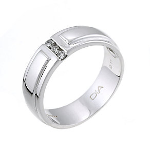 Men's 9ct White Gold Diamond Set 6mm Ring - Product number 6285732