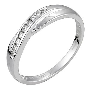 Ladies' 9ct White Gold Diamond Set Crossover Ring - Product number 6287123