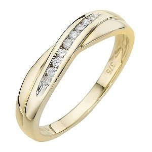 9ct Yellow Gold Cross Over Ring