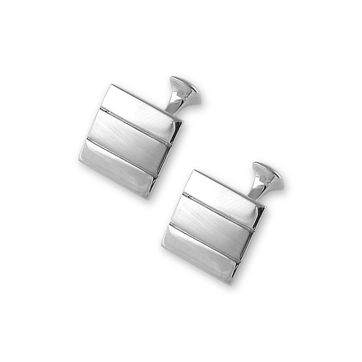 Satin and polished striped silver cufflinks - Product number 6290701