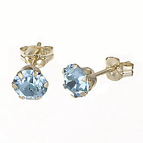9ct Yellow Gold Aqua Crystal Stud Earrings 5mm - Product number 6299466