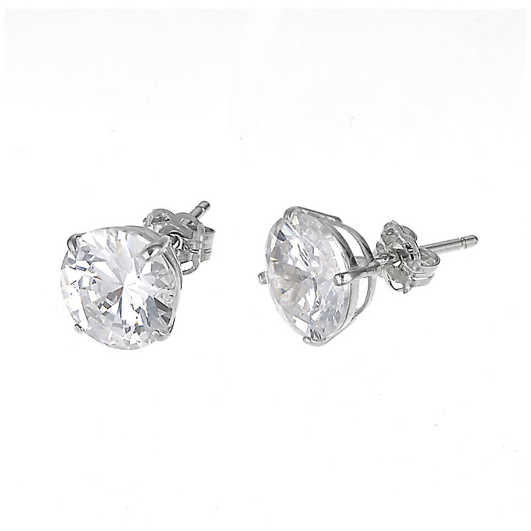 9ct White Gold Cubic Zirconia Round Claw Stud Earrings 9mm - Product number 6300421
