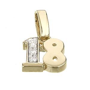 9ct Yellow Gold Diamond 18th Birthday Charm