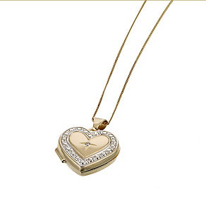 9ct Yellow Gold Diamond Heart Locket - Product number 6304354