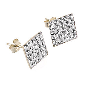 9ct Gold Crystal Square Stud Earrings - Product number 6304710