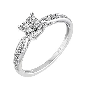9ct White Gold 15 Point Diamond Ring