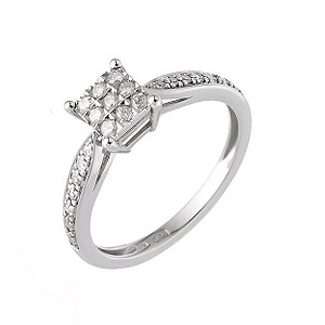 9ct White Gold Fifth Carat Diamond Cluster Ring