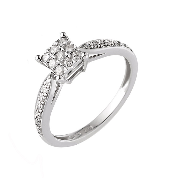 9ct White Gold Fifth Carat Diamond Cluster Ring - Product number 6310745