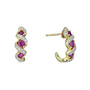 9ct Gold Diamond and Treated Ruby Half Hoop Earrings - Product number 6311350