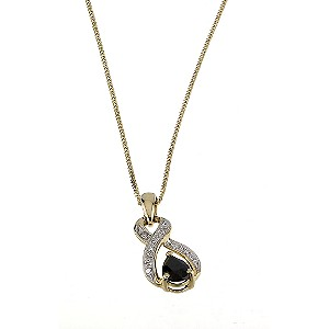 9ct Yellow Gold Sapphire Diamond Pendant - Product number 6312551