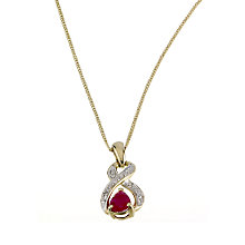 9ct Yellow Gold Ruby Diamond Pendant - Product number 6312713